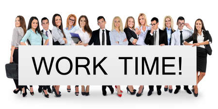 Work time word writing on white banner photo