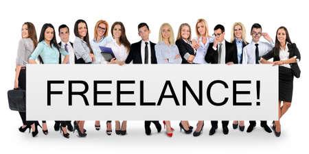 freelance: Freelance word writing on white banner