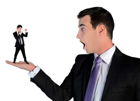 guy person: Isolated business man looking shocked on little man