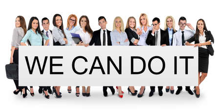 We can do it word writing on white banner photo