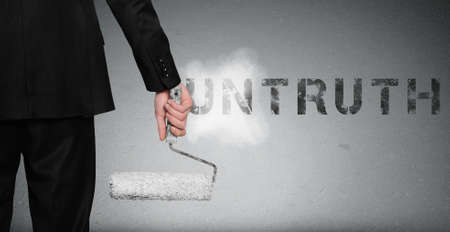 untruth: Untruth word painting on gray wall