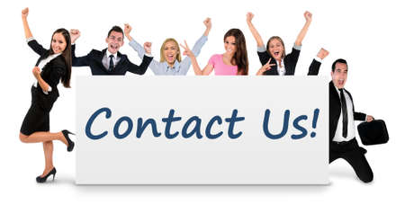 celebrating: Contact us word writing on banner