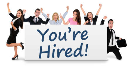 You are hired word writing on banner Stock Photo