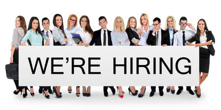 We are hiring word writing on white banner photo