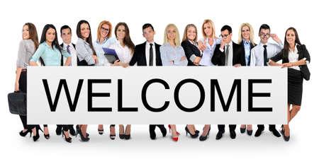 bienvenida: Bienvenido palabra escrito en la bandera blanca