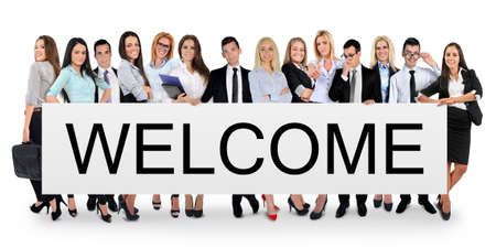welcome people: Welcome word writing on white banner