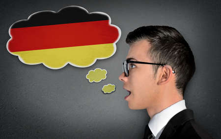 screaming head: Man learn speaking german in bubble Stock Photo
