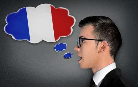 fluent: Man learn speaking french in bubble