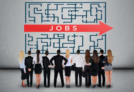 unemployment: Jobs word maze and business team thinking solution