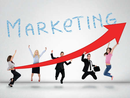 Marketing word and red arrow report growth statistics photo