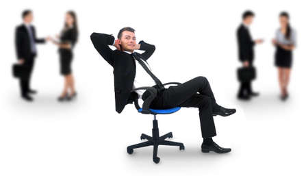 Young business man relaxing at office photo
