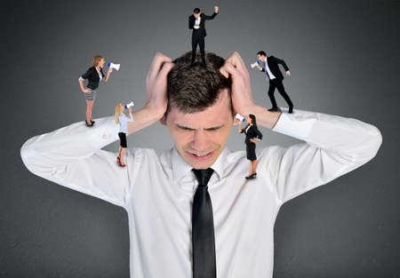 Young business man headache scream