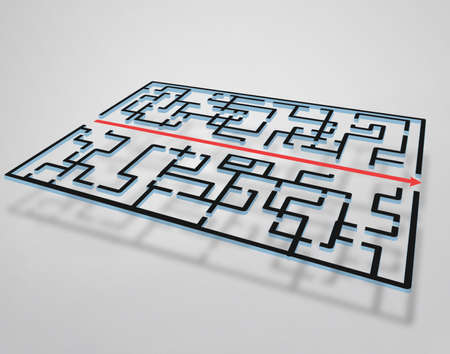 right of way: Maze illustration and red arrow right way