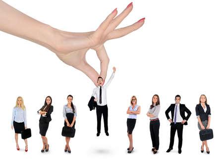 De hand vrouw kiezen zakenman