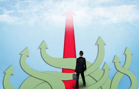 way of thinking: Right way arrow and business man thinking solution Stock Photo