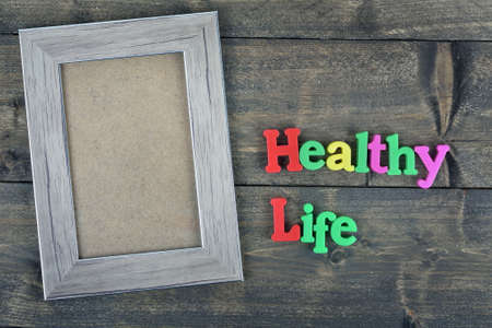 healty: Healty life word on wooden table