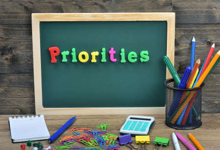 priorities: Priorities word on school board
