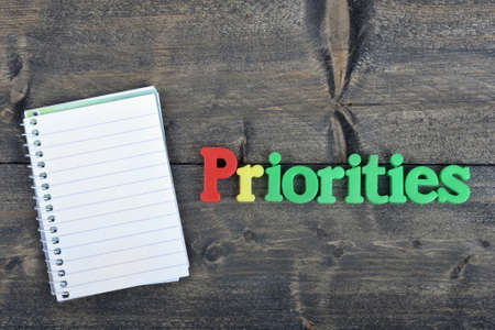 priorities: Priorities word on wooden table