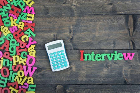 jobless: Interview word on wooden table