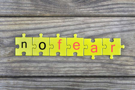 no fear: Puzzle pieces with word no fear Stock Photo