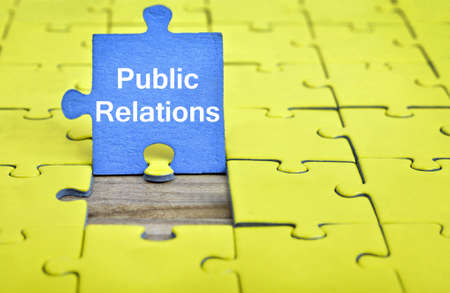 relation: Puzzle pieces with word Public Relations Stock Photo