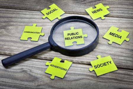 relations: Puzzle pieces with word Public Relations Stock Photo