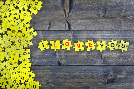 love strategy: Puzzle pieces with word  I love you