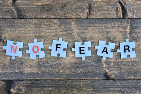 no fear: Puzzle pieces with word No fear