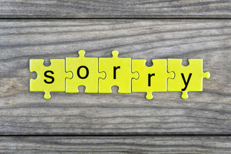 Puzzle pieces with word Sorry Stock Photo