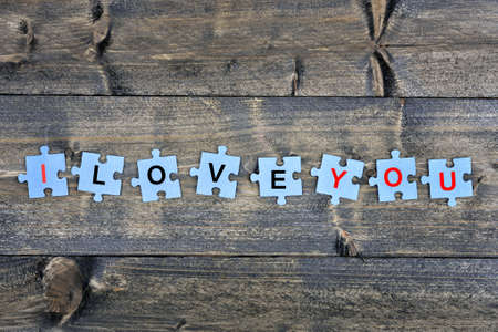 Puzzle pieces with word I love you Stok Fotoğraf