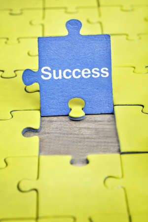 complete solution: Puzzle pieces with word Success Stock Photo