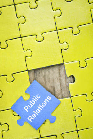 public relations: Puzzle pieces with word Public Relations Stock Photo