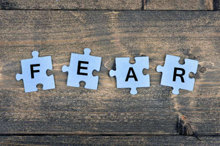 fear: Puzzle pieces with word Fear