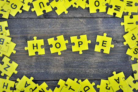 Puzzle pieces with word Hope