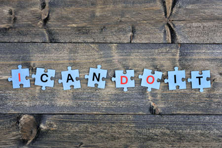 Puzzle pieces with word I can do it Stok Fotoğraf