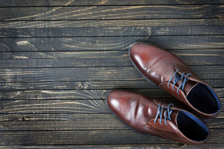 Business shoes on wooden floor Stock Photo