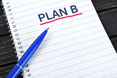blue pen: Plan B text on notepad and blue pen Stock Photo
