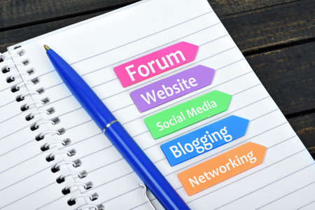 Online presence text on sticky colorful arrows