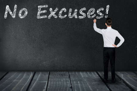 justify: No Excuses text write on black board