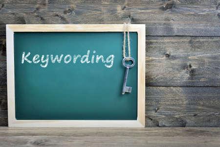 keywording: Keywording text on school board and old key