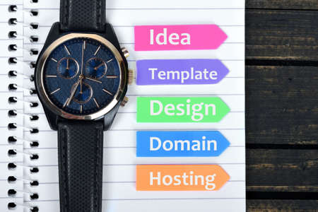 website plan: Website plan text on sticky colorful arrows Stock Photo