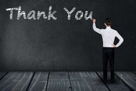Thank You text write on black board Stock Photo