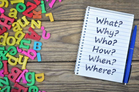 unanswered: Questions text on notepad and magnetic letters on wooden table