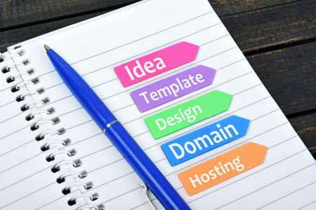 website plan: Website plan on sticky colorful arrows Stock Photo