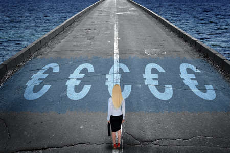 business sign: Euro sign on road and business woman