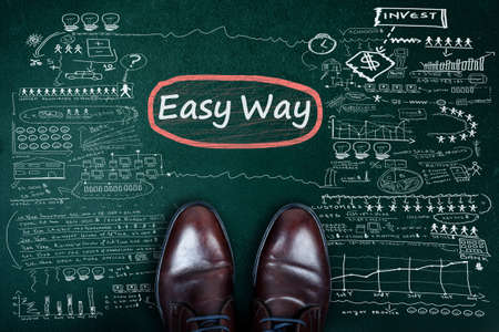 easy way: Easy Way word and business shoes on chalkboard Stock Photo