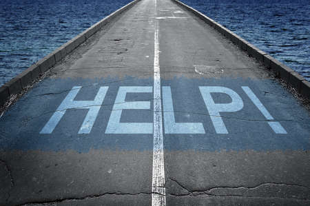 need direction: Help message on road and business man