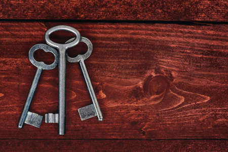 Old key set on wooden table