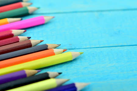 Group of pencil on wooden table Stock Photo