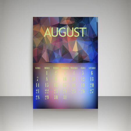 chronological: Geometrical polygonal triangles and blurred backgrounds 2016 calendar design for august month   Illustration